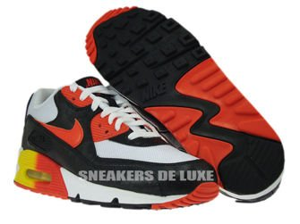 307793-180 Nike Air Max 90 White/Black Orange-Yellow