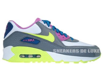 345017-119 Nike Air Max 90 White/Volt Ice-Green Abyss-Clear Grey