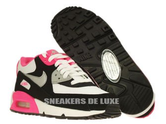 345017-122 Nike Air Max 90 White/Metallic Silver-Black-Hyper Pink