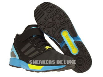 B34458 adidas ZX Flux NPS MID Core Black / Core Black / Bright Yellow