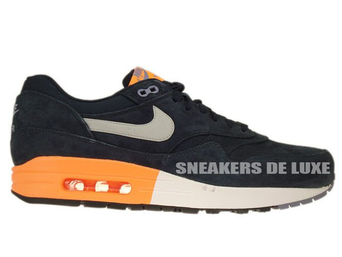d6e49b3910f3 512033-400 Nike Air Max 1 Premium Dark Obsidian   Metallic Silver – Atomic  Orange ...