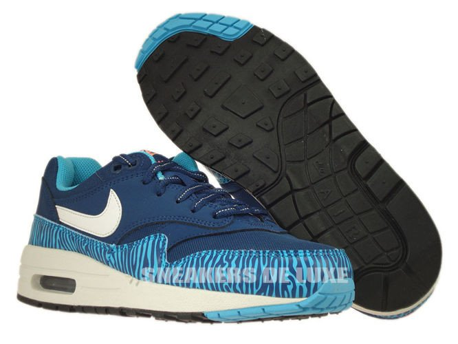 555766 402 Nike Air Max 1 Brave BlueSummit White Black