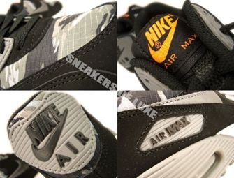 307793-084 Nike Air Max 90 Black/Metallic Dark Grey-Total Orange-Classic Grey