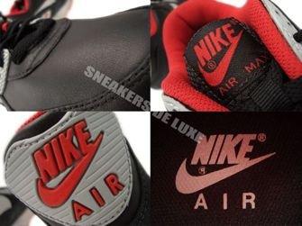 333888-005 Nike Air Max 90 Premium Black/Matte Silver-Sport Red