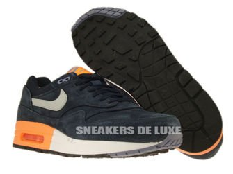 512033-400 Nike Air Max 1 Premium Dark Obsidian / Metallic Silver – Atomic Orange