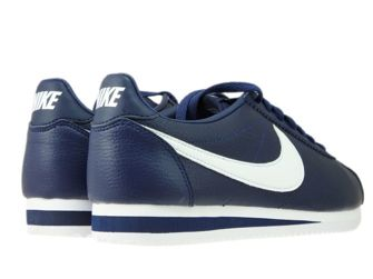 749571-414 Nike Cortez Classic Leather Midnight Navy/White