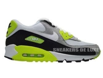 size 40 8fc80 9a1e7 Nike Air Max 90 Black White-Medium Grey-Volt 325018-048 ...